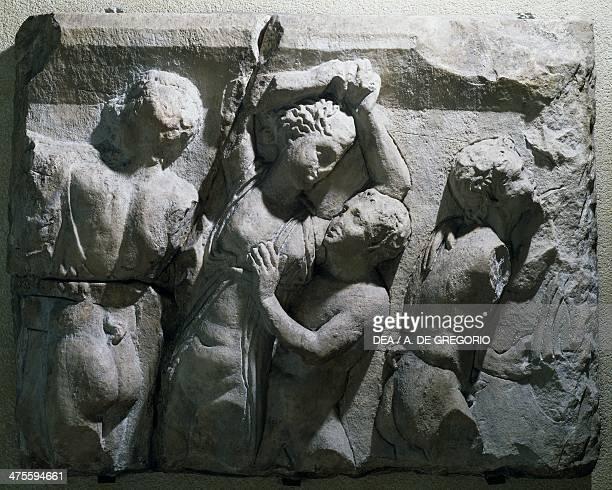 Bacchic scene basrelief fragment of a sarcophagus Roman civilisation 2nd century AD Brescia Museo Civico Dell'Età Romana E Tempio Capitolino
