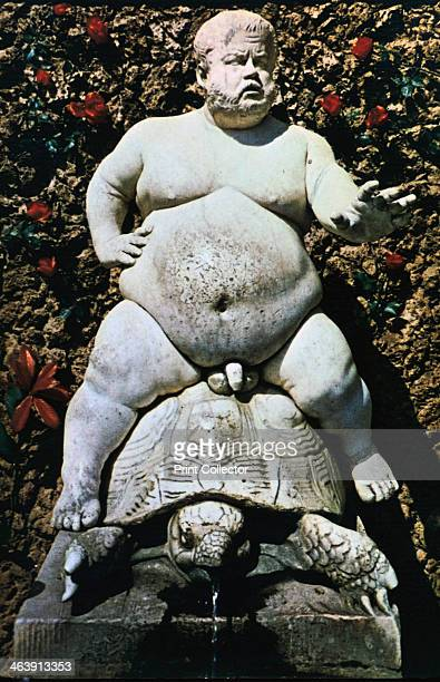 Bacchus 1560 Statue in the Boboli Gardens Florence Italy It shows Pietro Barbino Cosimo I's court dwarf as Bacchus riding a tortoise
