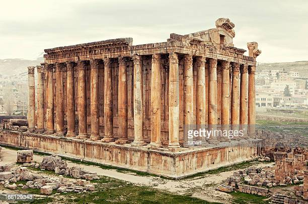 bacchus temple, baalbek, bekaa valley, lebanon - beirut stock pictures, royalty-free photos & images