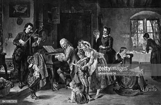 Bach Johann Sebastian *2103168528071750Composer Germany 'Morning prayer in Bach's home' painting by Toby E Rosenthal 1870Photographer Hanfstaengl/...