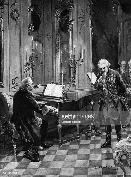 Bach Johann Sebastian *2103168528071750Komponist D mit Friedrich dem Grossen Gemaelde von Carl Roehling undatiert Aufnahme Photografische...