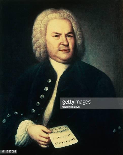 Bach Johann Sebastian *2103168528071750Komponist D Portrait mit Notenblatt Gemaelde von EG Haussmann restaurierte Uebermalung Stadtmuseum Leipzig 1746