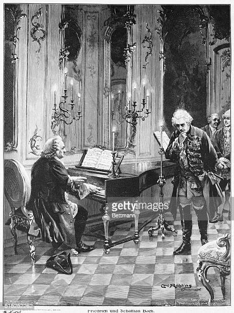 Bach Johann Sebastian German organist and composer Bach playing for Frederick II in 1747