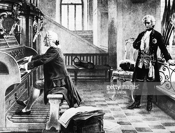Bach Johann Sebastian Komponist D Friedrich II und Bach in der Garnisonkirche zu Potsdam Druck ne Gemaelde von Rudolf Eichstaedt undatiert