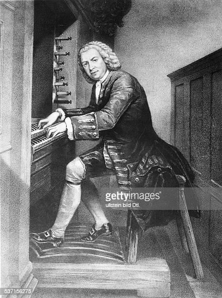 Bach Johann Sebastian Komponist D spielt auf der Orgel in Leipzig undatiert
