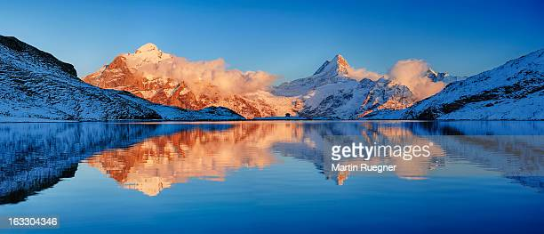 Bachalpsee with mountains, sunset.