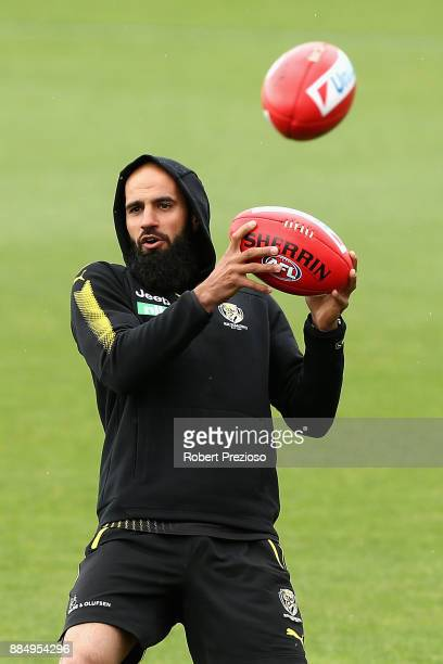 Bachar Houli completes drills during a Richmond Tigers AFL training session at Punt Road Oval on December 4 2017 in Melbourne Australia