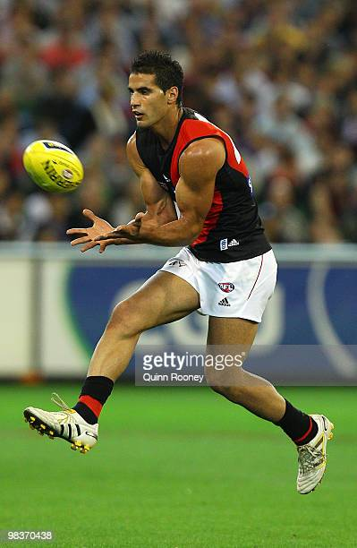 Bachar Houli of the Bombers marks during the round three AFL match between the Carlton Blues and the Essendon Bombers at the Melbourne Cricket Ground...