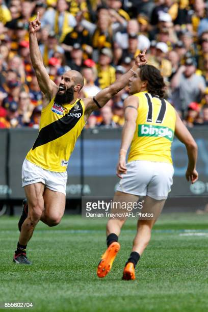 Bachar Houli of the Tigers celebrates a goal during the 2017 AFL Grand Final match between the Adelaide Crows and the Richmond Tigers at Melbourne...