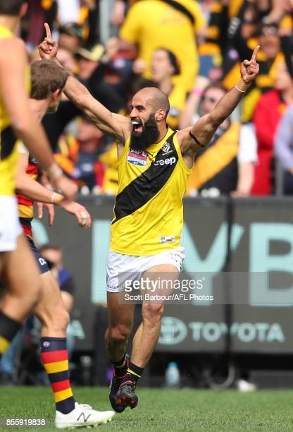 Bachar Houli of the Tigers celebrates after kicking a goal during the 2017 AFL Grand Final match between the Adelaide Crows and the Richmond Tigers...