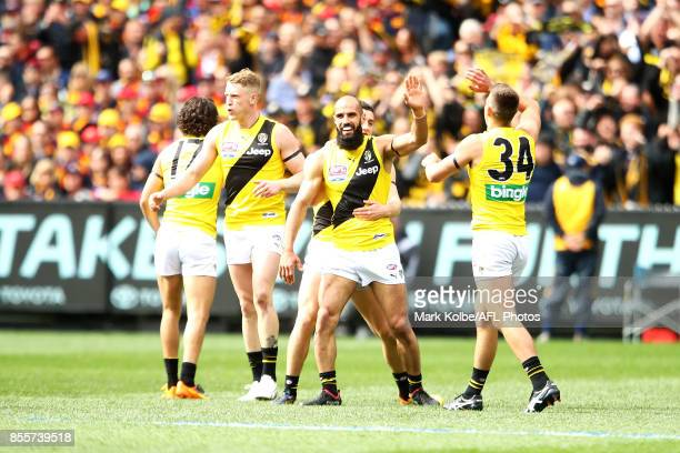 Bachar Houli of the Tigers celebrates kicking a goal during the 2017 AFL Grand Final match between the Adelaide Crows and the Richmond Tigers at...
