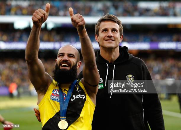 Bachar Houli of the Tigers celebrates with Ivan Maric of the Tigers during the 2017 Toyota AFL Grand Final match between the Adelaide Crows and the...