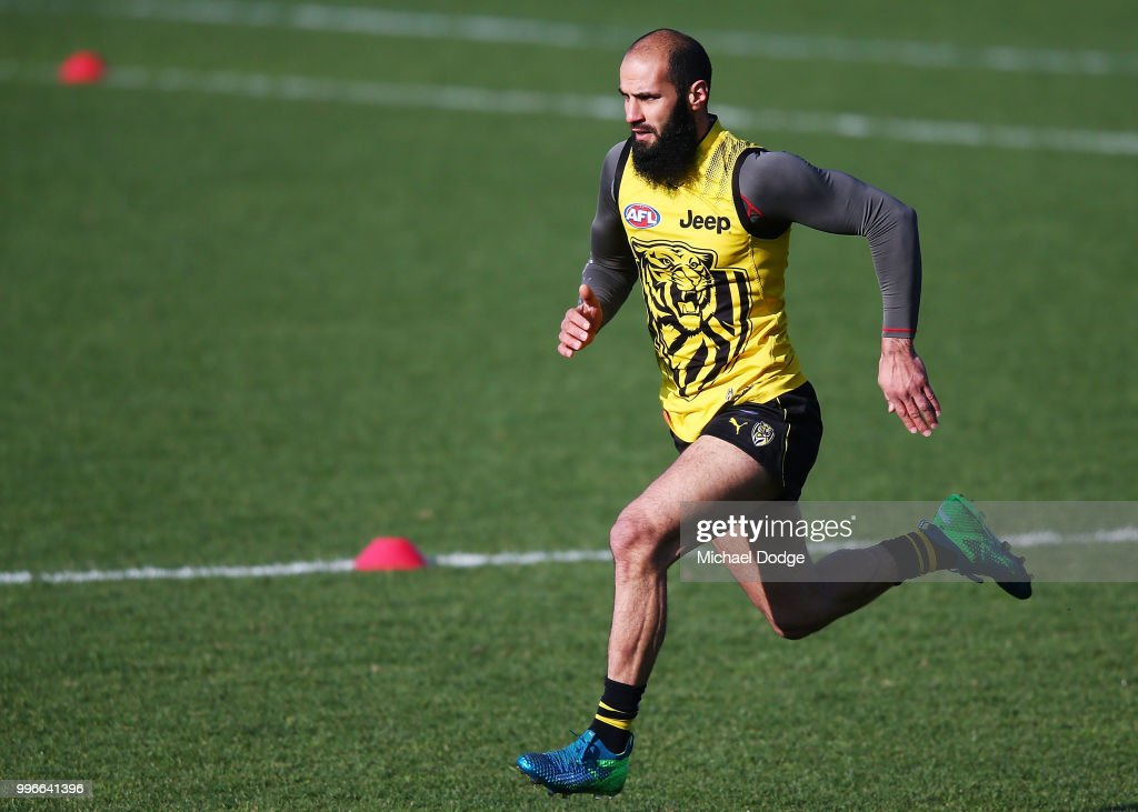 Bachar Houli of the Tigers, tipped by coach Damien Hardwick to return, runs during a Richmond Tigers AFL training session at Punt Road Oval on July 12, 2018 in Melbourne, Australia.