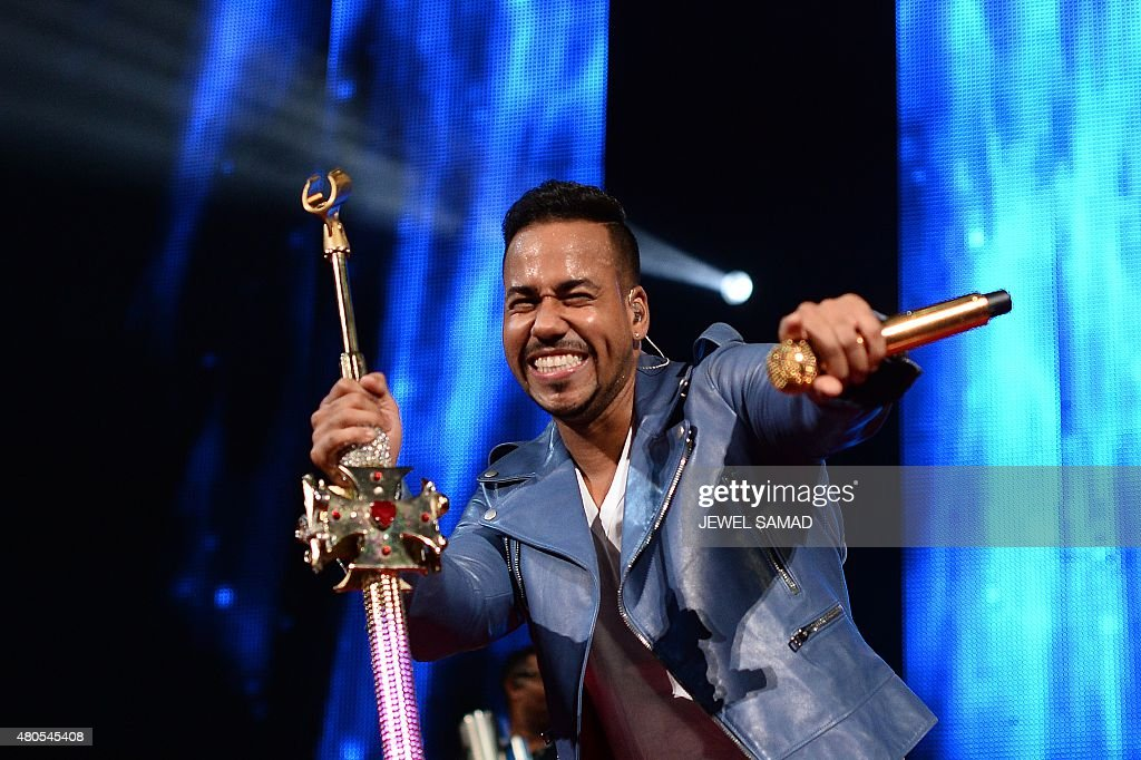 US bachata singer Romeo Santos performs on stage during a concert at the Barclays Center in the Brooklyn borough of New York on July 12, 2015.