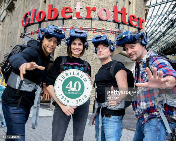 Bachelor Andrej Mangold German presenter Bella Lesnik German actor Andre Dietz and German actor Simon Boeer during the Globetrotter celebrates 40th...