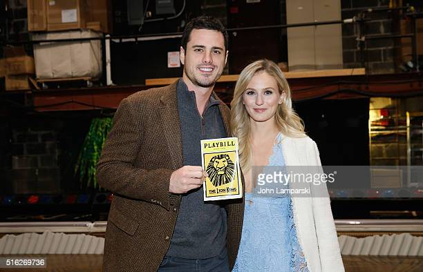 'Bachelor' Ben Higgins and fiancee Lauren Bushnell visit 'The Lion King' on Broadway at Minskoff Theatre on March 17 2016 in New York City