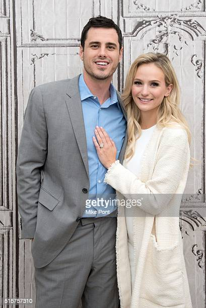 Bachelor Ben Higgins and Lauren Bushnell attend the AOL Build Speaker Series to discuss The Bachelor at AOL Studios In New York on March 15 2016 in...