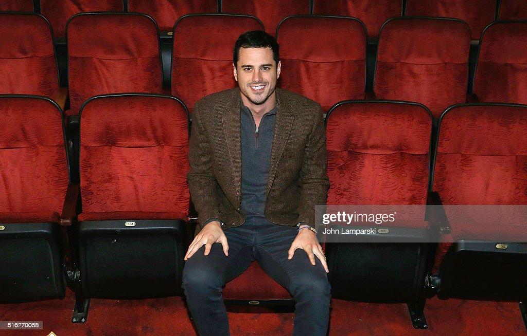 """""""Bachelor"""" Ben Higgins And Fiancee Lauren Bushnell Visit """"The Lion King"""" On Broadway : News Photo"""