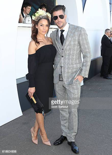 Bachelor couple Sam Wood and Snezana Markoski arrive on Derby Day at Flemington Racecourse on October 29 2016 in Melbourne Australia