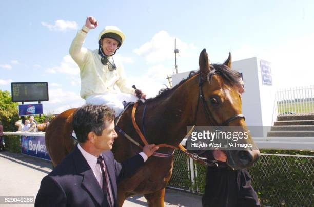Bachelor Duke ridden by Seb Saunders after winning the Boylesports Irish 2000 Guineas Saturday May 22 at the Curragh Racecourse Co Kildare Ireland
