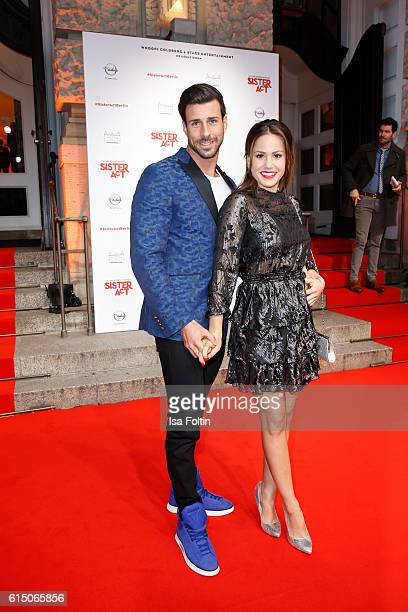 Bachelor Leonard Freier and his girlfriend german actress Angelina Heger attend the 'Sister Act The Musical' premiere at Stage Theater on October 16...