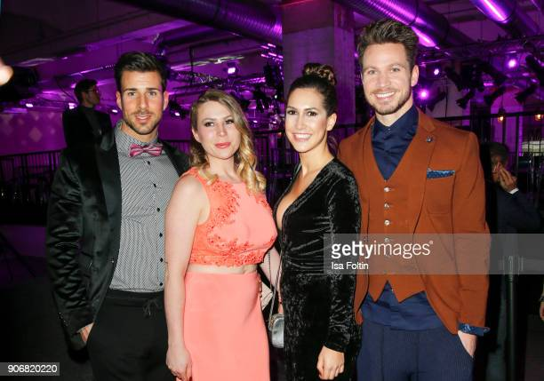 Bachelor Leonard Freier with his girlfriend Caona and TV Bachelor Sebastian Pannek with his girlfriend CleaLacy Juhn during the Maybelline Show...