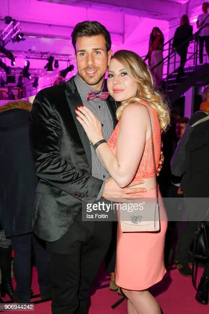 Bachelor Leonard Freier with his girlfriend Caona during the Maybelline Show 'Urban Catwalk Faces of New York' at Vollgutlager on January 18 2018 in...