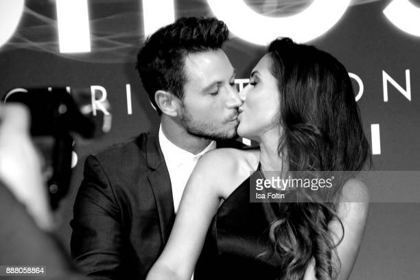 TV Bachelor Sebastian Pannek and his girlfriend CleaLacy Juhn during the premiere of 'Ghost Das Musical' at Stage Theater on December 7 2017 in...