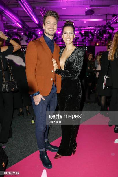 Bachelor Sebastian Pannek and his girlfriend CleaLacy Juhn during the Maybelline Show 'Urban Catwalk Faces of New York' at Vollgutlager on January 18...