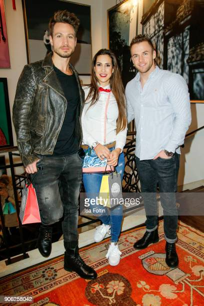 Bachelor Sebastian Pannek with his girlfriend CleaLacy Juhn and model Philipp Stehler during the Thomas Sabo Press Cocktail during the MercedesBenz...