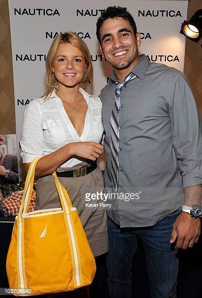 Bachelorette Ali Fedotowsky and fiancee Roberto Martinez attend the HBO Luxury Lounge in honor of the 62nd Primetime Emmy Awards held at The Four...