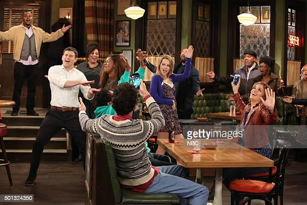 UNDATEABLE 'A Bachelorette Party Walks Into a Bar' Episode 308A Pictured Brent Morin as Justin Bridgit Mendler as Candace Bianca Kajlich as Leslie