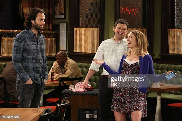 UNDATEABLE A Bachelorette Party Walks Into a Bar Episode 308A Pictured Chris D'Elia as Danny Brent Morin as Justin Bridgit Mendler as Candace