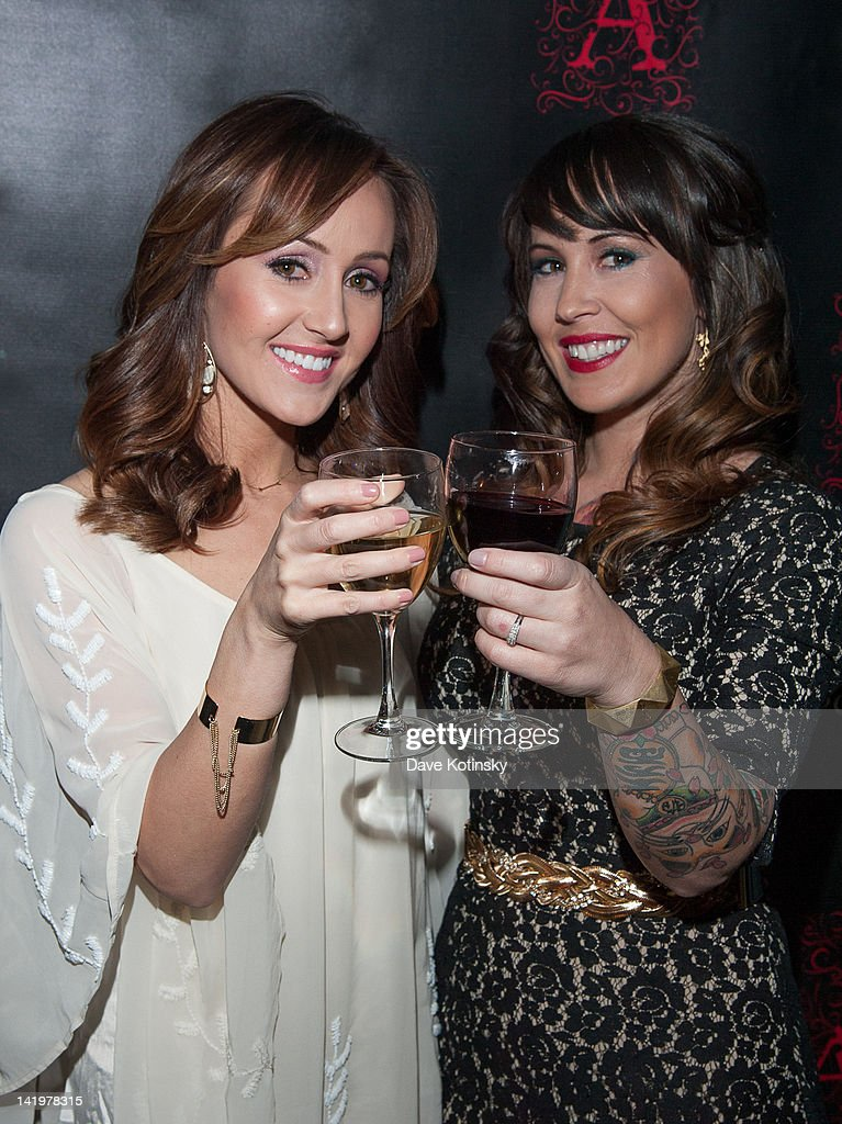 Bachelorette star Ashley Hebert and sister Chrystie Corns attend the Apothic white wine launch at The Wooly on March 27, 2012 in New York City.