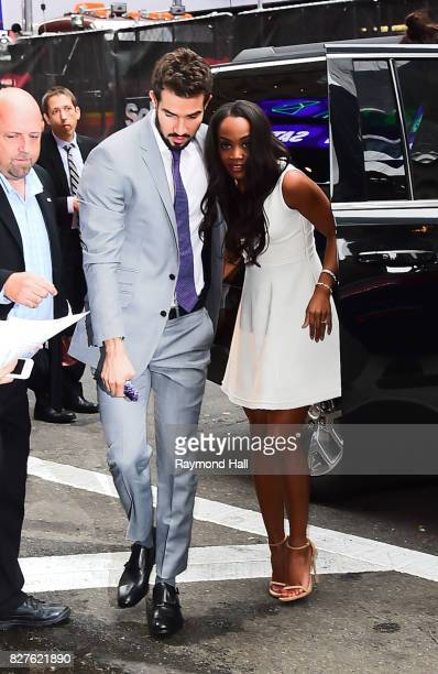 Bachelorette's Rachel Lindsay and her fiance Bryan Abasolo are seen arrived at Good Morning America on August 8 2017 in New York City