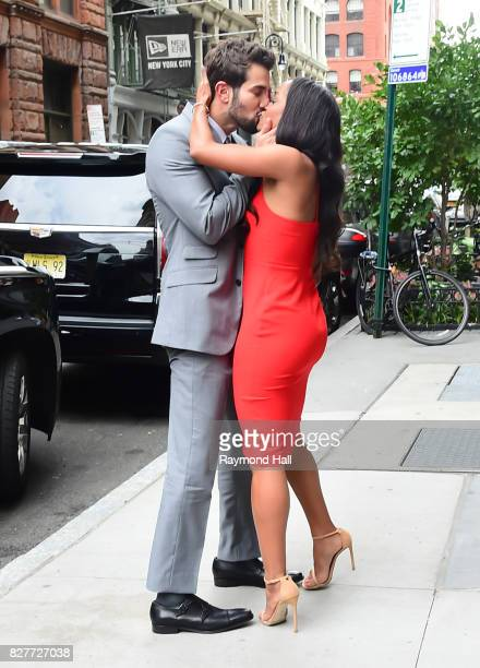 Bachelorette's Rachel Lindsay and her fiance Bryan Abasolo are seen arriving Aol Live on August 8 2017 in New York City