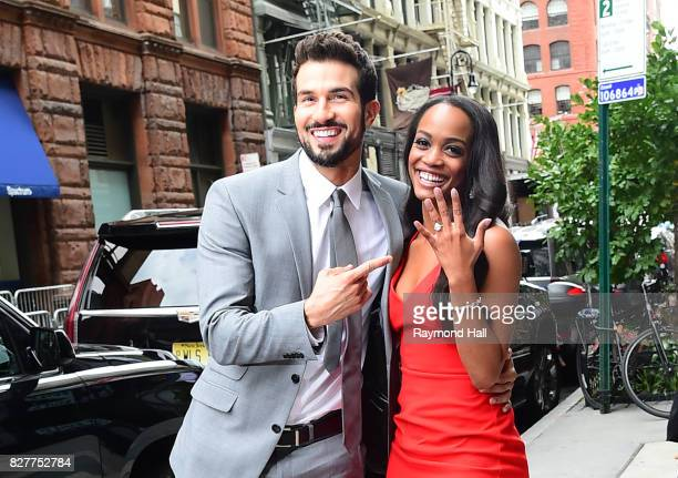 Bachelorette's Rachel Lindsay and her fiance Bryan Abasolo arrive at Aol Live on August 8 2017 in New York City