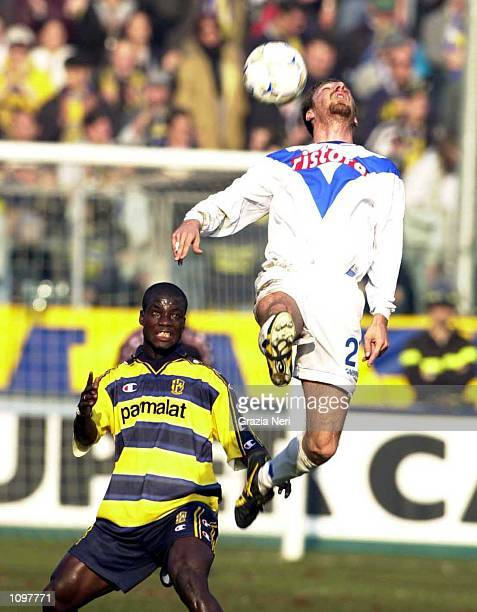 Bachini of Brescia and Mboma of Parma in action during the SERIE A 19th Round League match between Parma and Brescia played at the Ennio Tardini...