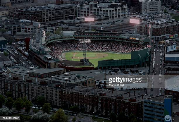 Back Bay and Fenway Park on May 10 1988 in Boston Massachussetts