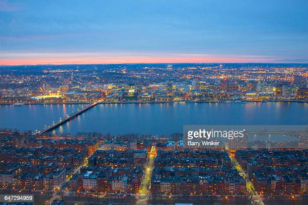 back bay, charles river & cambridge from up high - cambridge massachusetts stock pictures, royalty-free photos & images