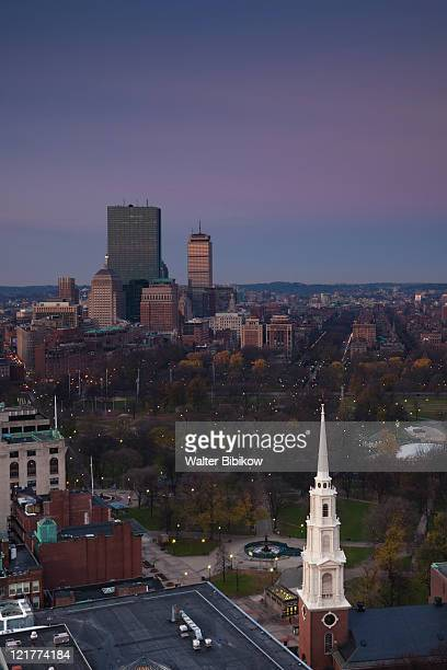 back bay towers, boston common and park street church, boston, massachusetts, usa - boston common stock pictures, royalty-free photos & images