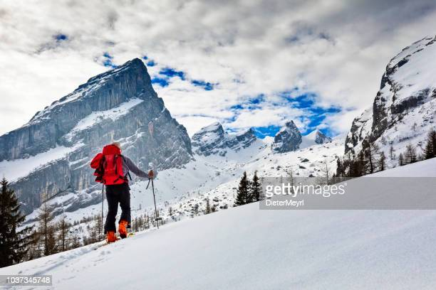 Back country Ski touring in alps with Watzmann in background