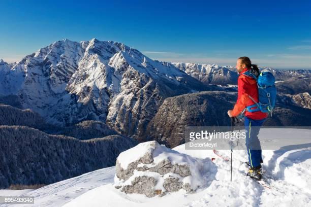 back country skier at watzmann - nationalpark berchtesgaden - berchtesgadener land stock photos and pictures