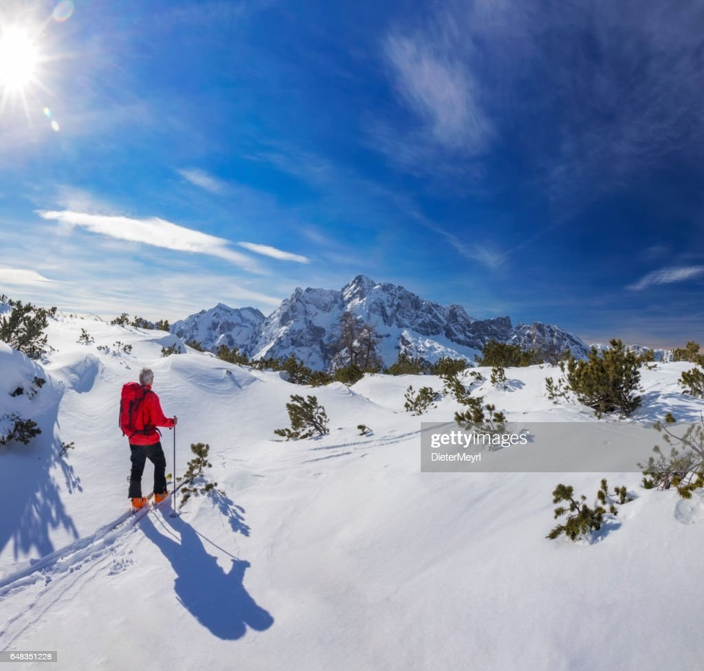 Back country skier at Watzmann with Hochkalter in Background- Alps : Stock Photo