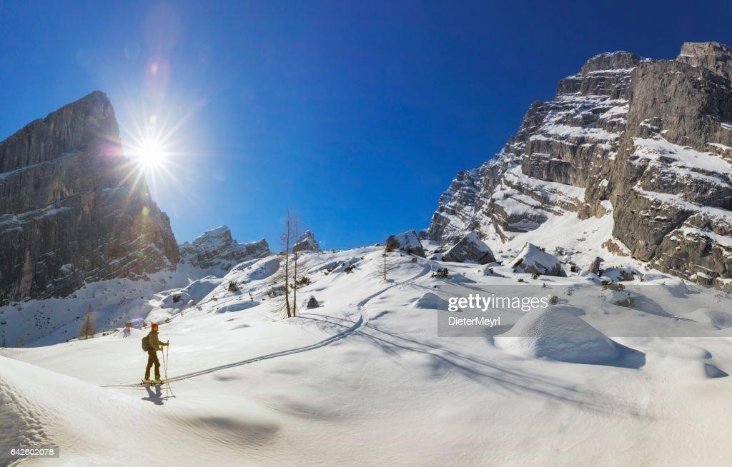 Back country skier on white slopes at Watzmann - Alps : Stock Photo