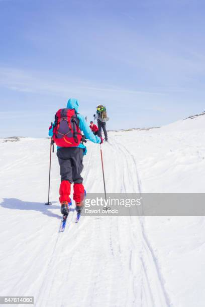 Back Country skiers on Hardangervidda plane in Norwey, Europe