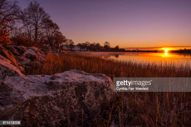 back cove sunrise, portland, maine - portland maine stock pictures, royalty-free photos & images
