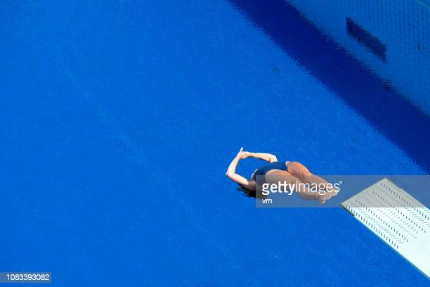 back dive - diving board stock pictures, royalty-free photos & images