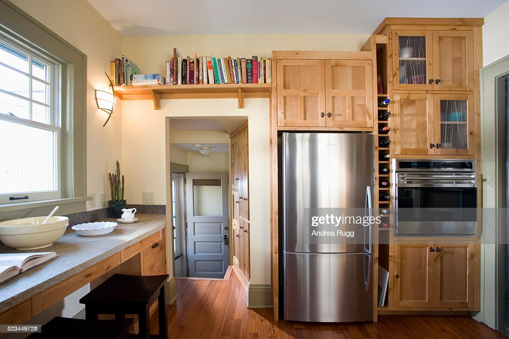 Back Door In Kitchen With Builtin Wood Cabinets High Res