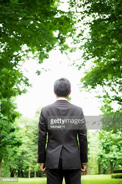 Back figure of businessman who stands in park